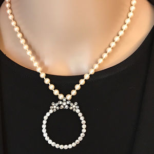 Vintage Faux Pearl Rhinestone Open Circle Necklace